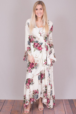 Easel Floral Maxi Wrap Dress