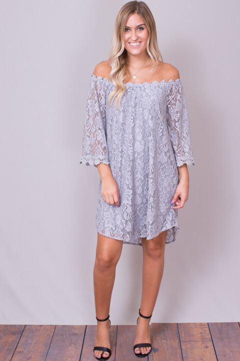 4f0618932999 Umgee Silver Lace Off The Shoulder Dress