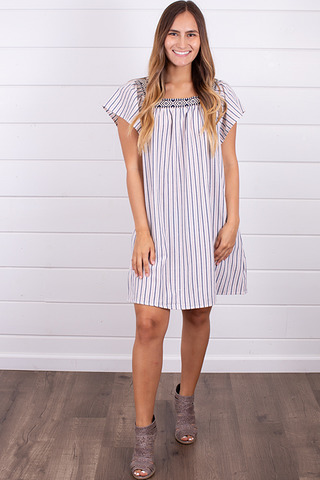 Hem and Thread Flutter Sleeve Dress