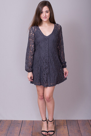 Lovestitch Charcoal Floral Lace Dress