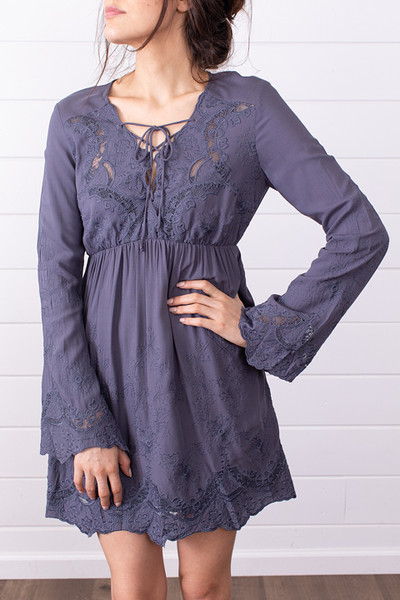 Lovestitch Slate Embroidered Dress 4