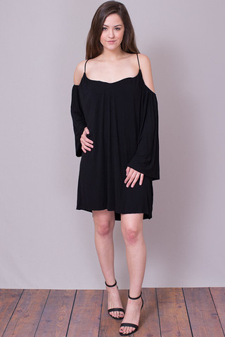 Elan International Black Cold Shoulder Dress