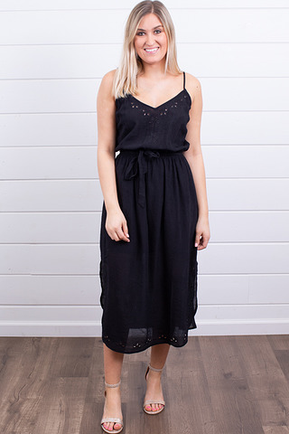 Lovestitch Black Eyelet Midi Dress