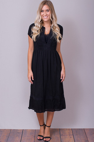 Lovestitch Cap Sleeve Midi Dress