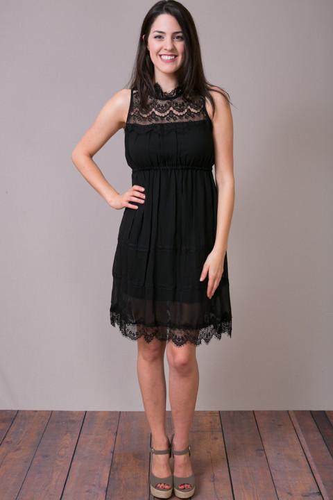 High Neck Scalloped Dress Little Black Dress O2 Collection