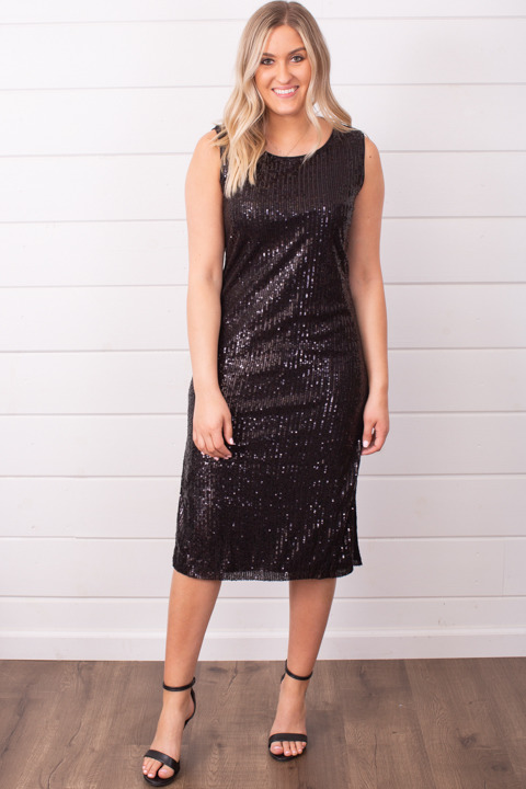 Wishlist Apparel Sequin Side Slit Dress