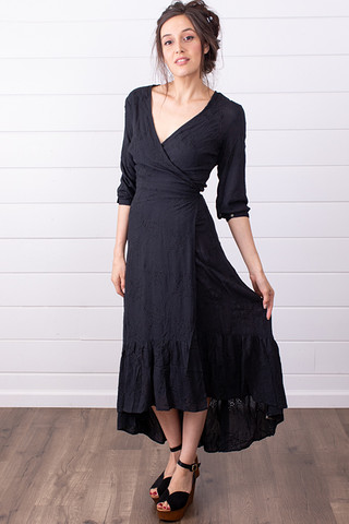 Black Gauze Wrap Dress