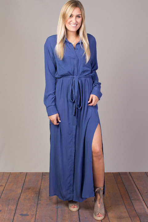 STILLWATER The Darian Shirt Dress Azure
