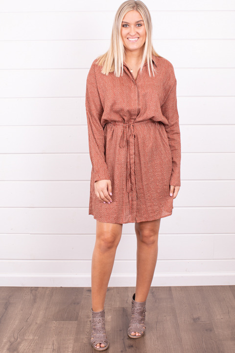 Mystree Striped Button Down Dress