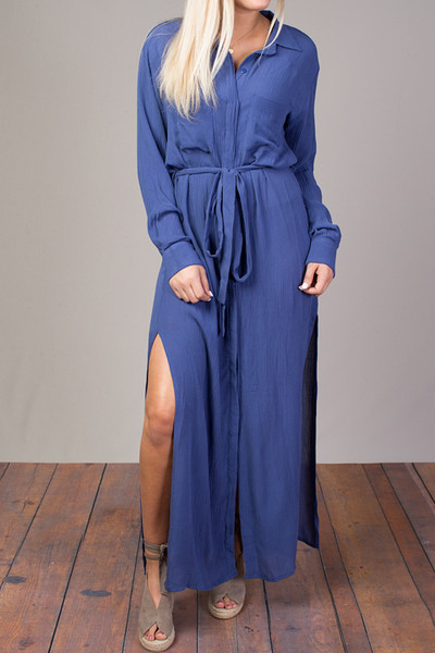 STILLWATER The Darian Shirt Dress Azure 2