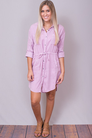 Dusty Pink Tie Front Dress