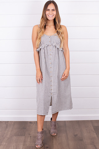 Hem and Thread Ticking Stripe Dress