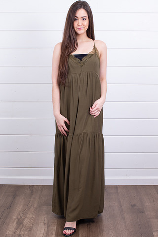 Lovestitch Olive Tiered Maxi