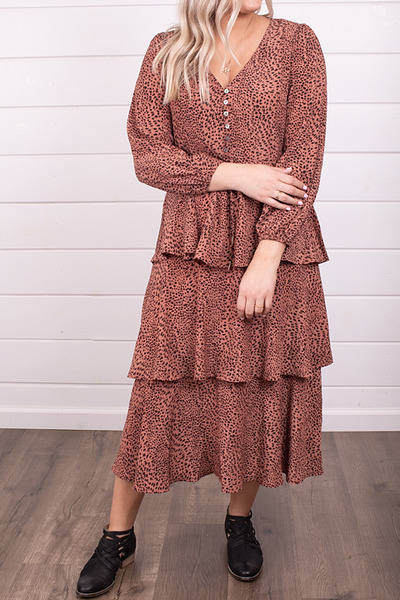 Mystree Leopard Layered Dress 4