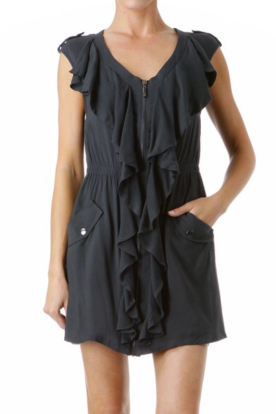 Mystree Front  Zipper Ruffle Dress