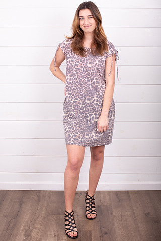 Mystree Shoulder Tie Leopard Dress