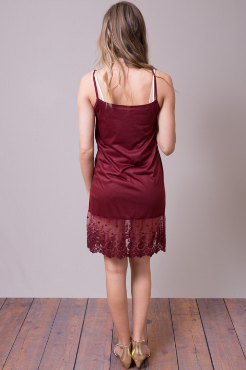 Scalloped Dress Slip Wine