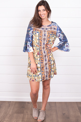 Umgee Scarf Print Keyhole Dress