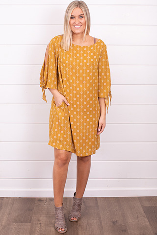 Wishlist Apparel Flowy Mustard Dress