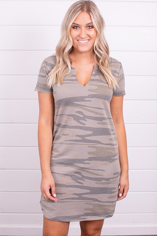 Z Supply Light Sage Camo Split Neck Dress
