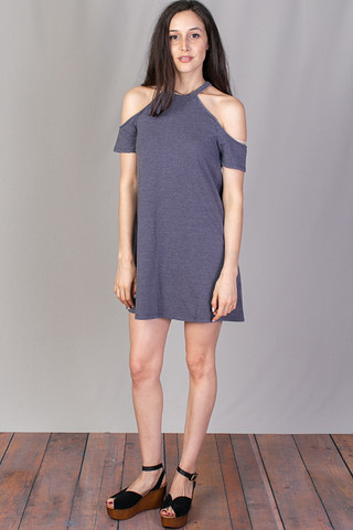 Z Supply Short Sleeve Cold Shoulder Dress Graphite