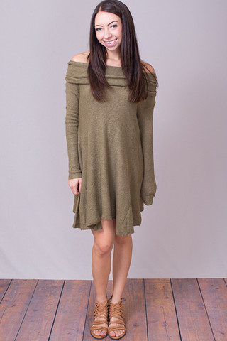 Umgee Olive Cowl Neck Sweater