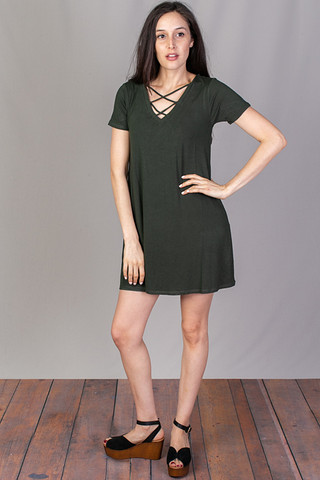 Z Supply The Cross Front Tee Dress Rosin