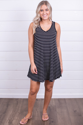 Z Supply Yuma Stripe Linen Breezy Dress Black