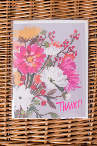 Red Cap Cards Floral Thanks Card