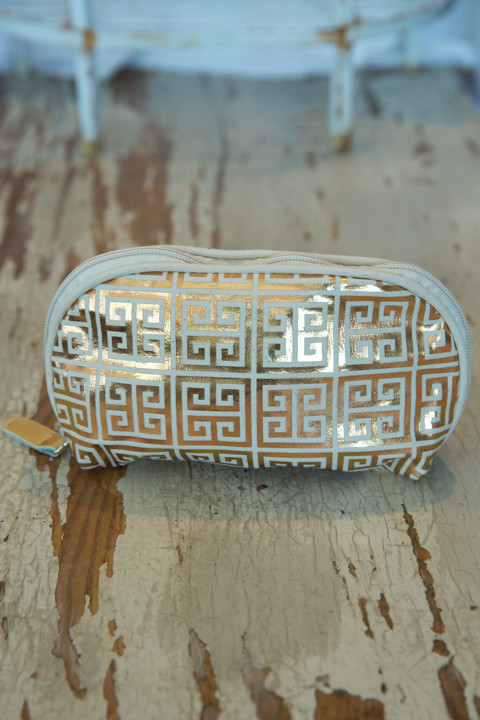 Jet Setter Cosmetic Bag Greek Key