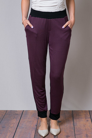Heather by Bordeaux Rib Front CB Pant