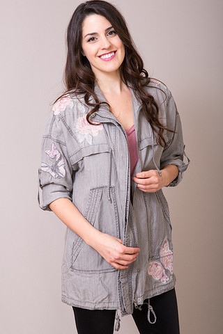 Grey Embroidered Jacket