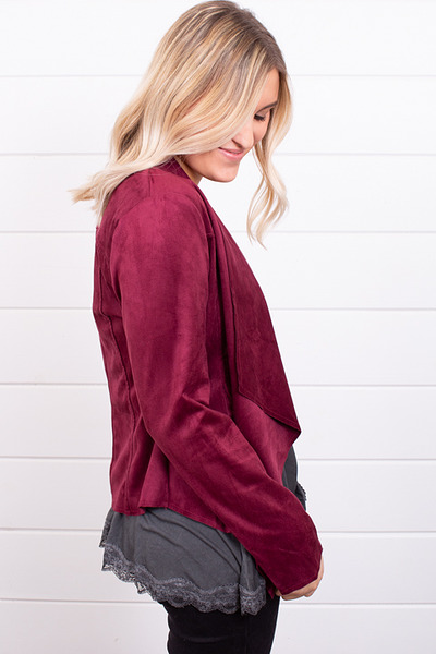 Blu Pepper Burgundy Faux Suede Jacket 3