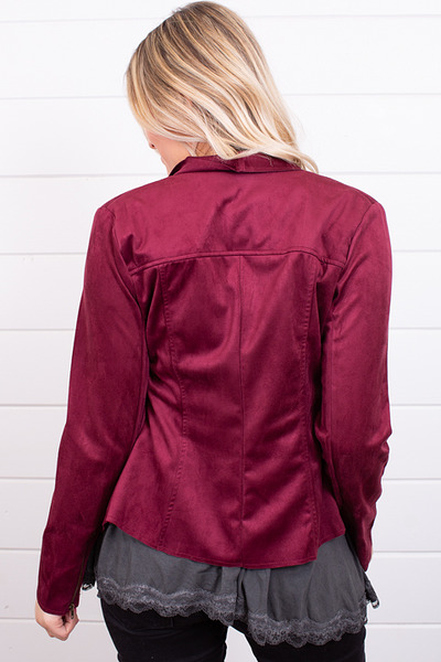 Blu Pepper Burgundy Faux Suede Jacket 4