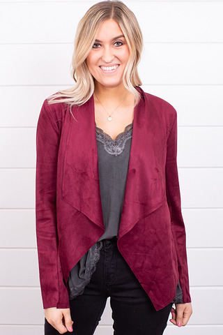 Burgundy Faux Suede Jacket