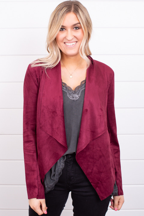 Blu Pepper Burgundy Faux Suede Jacket