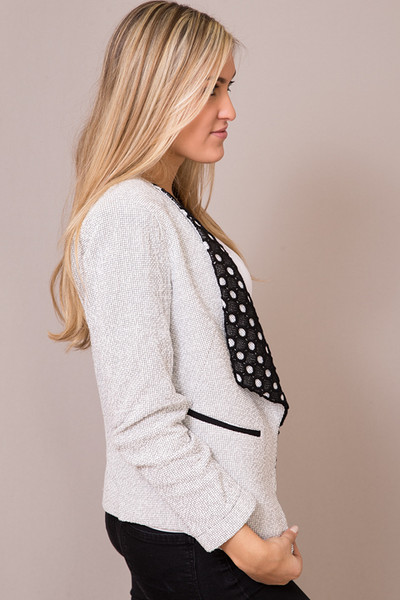 Hazel Black And White Textured Blazer 2