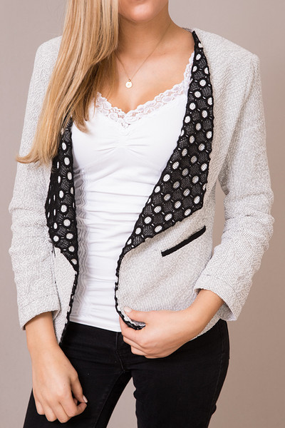 Hazel Black And White Textured Blazer 3