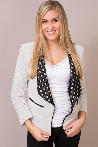 Hazel Black And White Textured Blazer