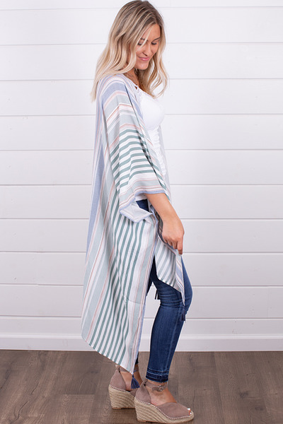 Hem and Thread Stripe Hi-Lo Kimono 3