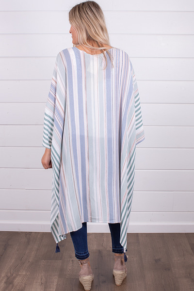 Hem and Thread Stripe Hi-Lo Kimono 2
