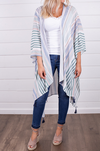 Hem and Thread Stripe Hi-Lo Kimono 4