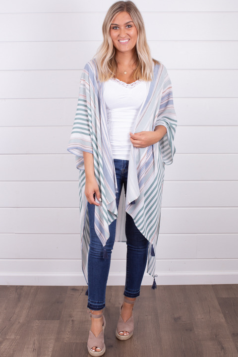 Hem and Thread Stripe Hi-Lo Kimono