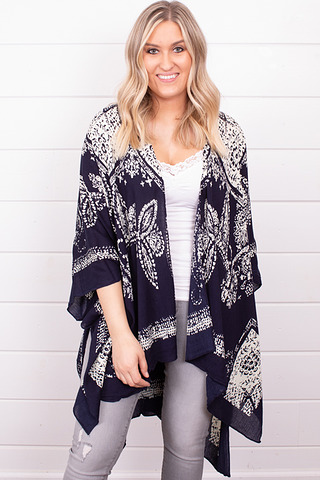 Lovestitch Navy Printed Kaftan