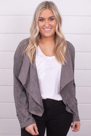 Mystree Charcoal Faux Suede Jacket