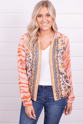 Mystree Coral Bomber Jacket