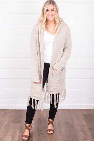Mystree Fringe Cozy Cardigan