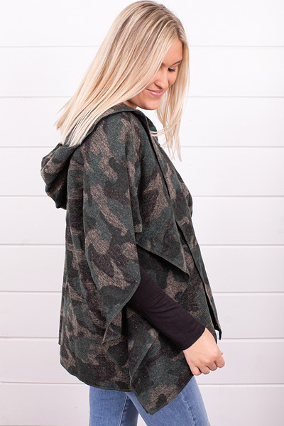 Mystree Hooded Camo Poncho 2