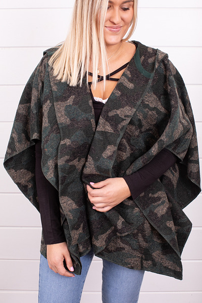 Mystree Hooded Camo Poncho 4