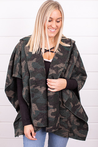 Hooded Camo Poncho